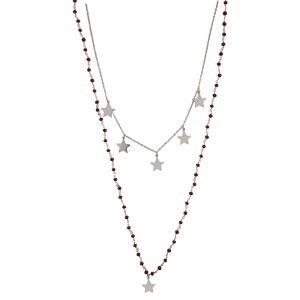Lant argint, stil rozariu, cu stelute si coral