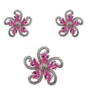 Set argint pink flower