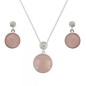 Set argint Astrid cu zirconii albe si cuart roz