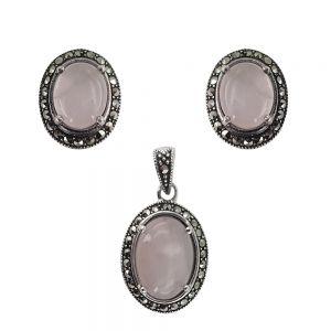 Set argint Cleo cu marcasite si cuart roz