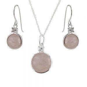 Set argint Mya cuart roz