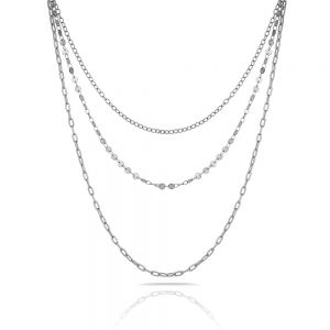 Lant argintiu, Freelook, pentru dama, din otel inoxidabil, FRJ.3.6004-1