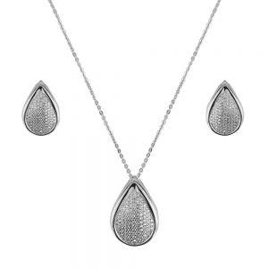 Set argint tear cu zirconii albe