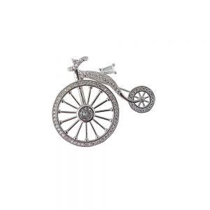 Brosa argint bicicleta cu zirconii albe