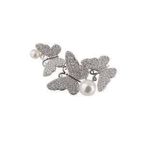 Brosa argint cu perle si trei fluturasi