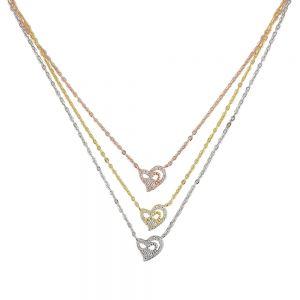 Lant argint cu trei pandantive Golden Heart