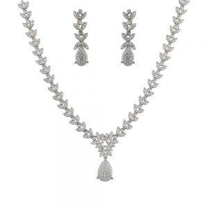 Set argint elegant Myriam cu zirconii albe
