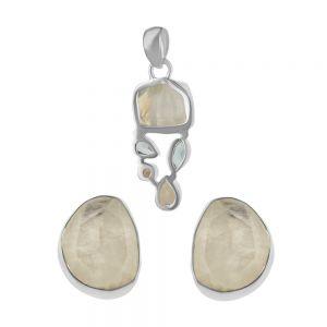 Set argint Anne cu piatra lunii si aquamarin