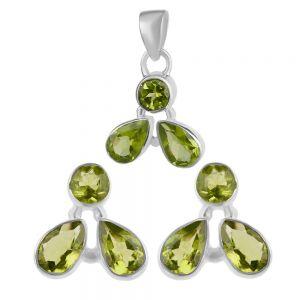 Set argint clear green cu peridot