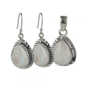 Set argint Claire cu piatra lunii