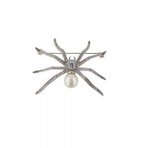 Brosa argint shiny spider cu perla si zirconii albe