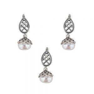 Set argint Ranya cu perle