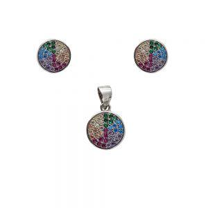 Set argint Selina cu zirconii multicolore
