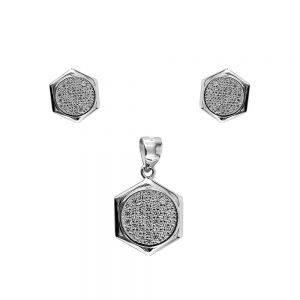Set argint Tully cu zirconii albe