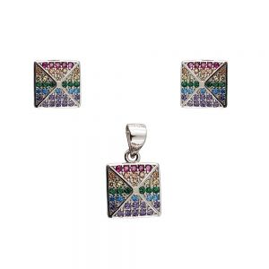 Set argint cu zirconii multicolore
