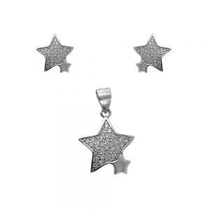 Set argint falling stars cu zirconii albe