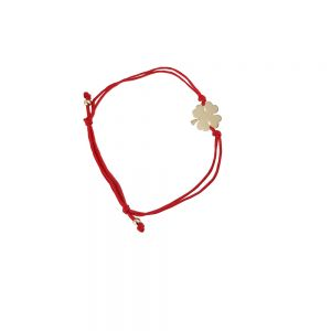 Bratara din aur 14K cu snur rosu si trifoi