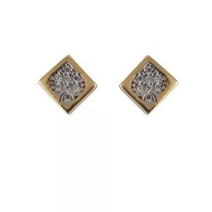 Cercei aur 14K trifoi cu zirconii albe