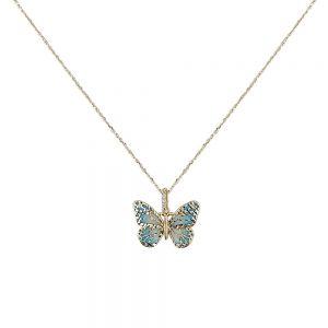 Lant aur 14K blue butterfly