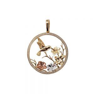 Pandantiv aur 14K cu pasarea colibri