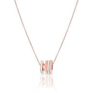 Lant auriu rose, Daniel Klein, pentru dama, din otel inoxidabil, DKJ.2.4003-3