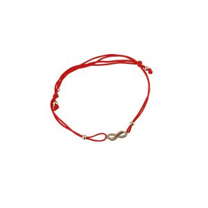 Bratara aur 14K cu snur rosu si semnul infinitului