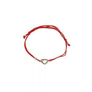 Bratara aur 14K cu snur rosu si talisman inima cu zirconii