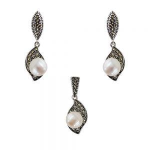 Set argint vintage leaf cu perle si marcasite