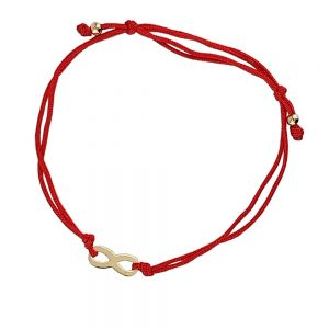 Bratara aur 14K cu snur rosu si simbol infinit