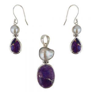 Set argint Caliopi cu turcoaz purpuriu si perle