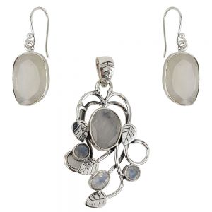 Set argint Irene cu piatra lunii, lucrat manual