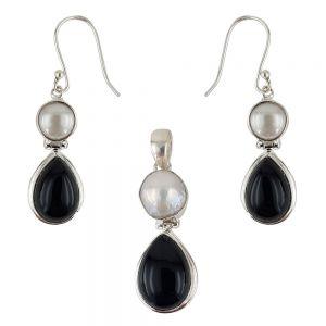Set argint Karina cu onix negru si perle
