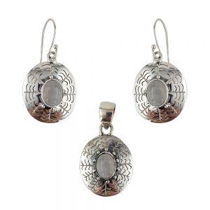 Set argint vintage cu piatra lunii Lucie